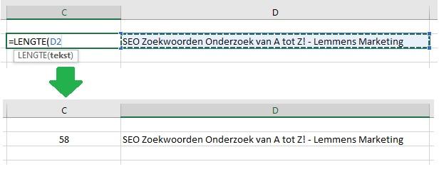 Formule om de Lengte van een Zin in Excel te checken