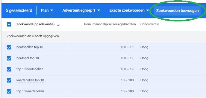 Zoekwoorden Toevoegen aan Plan in Google Zoekwoordplanner