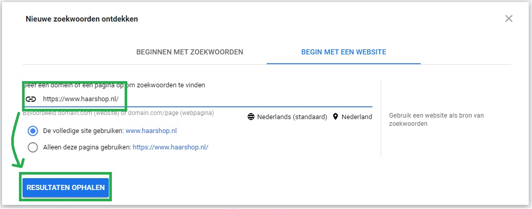 Begin met een Website in Google's Zoekwoordplanner