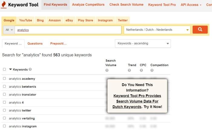 Zoekwoorden vinden via Keywordtool.io